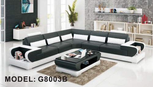 BRASOV  (G8003B) CORNER LOUNGE SUITE + COFFEE TABLE - CHOICE OF LEATHER AND ASSORTED COLOURS AVAILABLE