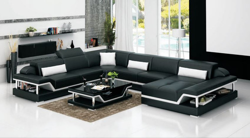 ALBA (G8004) CORNER LOUNGE SUITE + COFFEE TABLE - CHOICE OF LEATHER AND ASSORTED COLOURS AVAILABLE