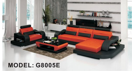 CLERMONT (G8005E) CHAISE SUITE + COFFEE TABLE - CHOICE OF LEATHER AND ASSORTED COLOURS AVAILABLE