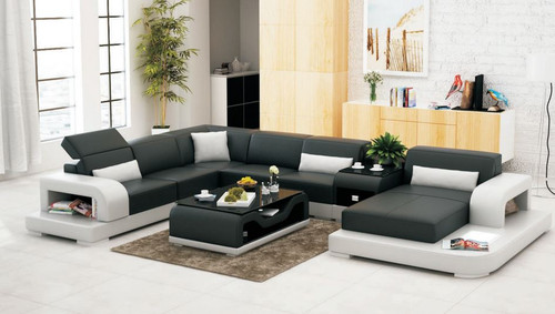 UPTON (G8006) CORNER  LOUNGE SUITE + COFFEE TABLE + SMALL TABLE - CHOICE OF LEATHER AND ASSORTED COLOURS AVAILABLE