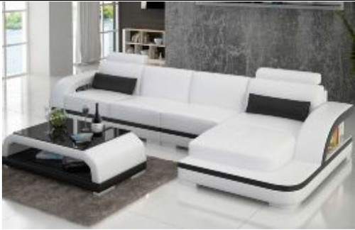 ZIKKI (G8011C) CHAISE LOUNGE SUITE + COFFEE TABLE - CHOICE OF LEATHER AND ASSORTED COLOURS AVAILABLE