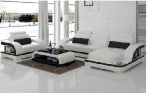 ZIKKI (G8011E) CHAISE LOUNGE SUITE + COFFEE TABLE - CHOICE OF LEATHER AND ASSORTED COLOURS AVAILABLE