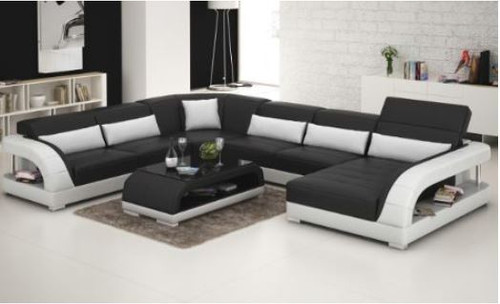 DANLILY (G8016) CORNER  LOUNGE WITH CHAISE + COFFEE TABLE - CHOICE OF LEATHER AND ASSORTED COLOURS AVAILABLE