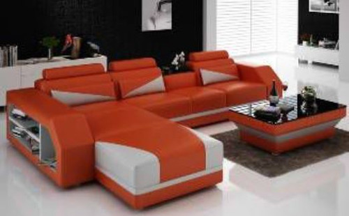 YORO (G8018B) CHAISE LOUNGE + COFFEE TABLE  - CHOICE OF LEATHER AND ASSORTED COLOURS AVAILABLE