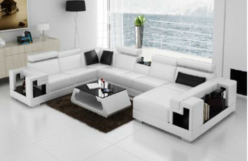 HALTONI (K5001) CORNER  LOUNGE SUITE +  COFFEE TABLE - CHOICE OF LEATHER AND ASSORTED COLOURS AVAILABLE