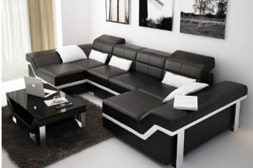 BEAZ (K5007C) DOUBLE CHAISE  SUITE +  COFFEE TABLE - CHOICE OF LEATHER AND ASSORTED COLOURS AVAILABLE