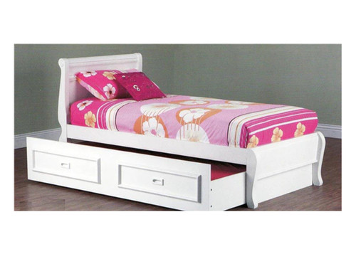 SINGLE COPENHAGEN BED WITH TEENAGE TRUNDLE WITH MOULDED HANDLES - ARCTIC WHITE