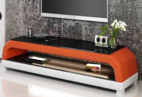 ANGLET  (TS1001) TV STAND   - FULL PVC + 2 TEMPERED GLASS + LIGHT   -  420(H) x 1950(W)