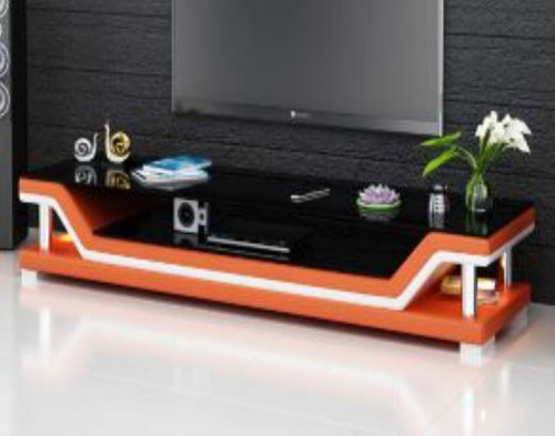 VERAPX (TS1003) TV STAND   - FULL PVC + 2 TEMPERED GLASS + LIGHT - 420(H) x 1950(W)