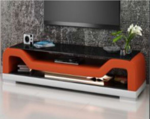 BIOT (TS1004) TV STAND   - FULL PVC + 1 TEMPERED GLASS + LIGHT - 1950(W)