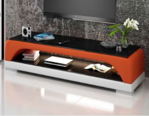 BIOT (TS1005) TV STAND   - FULL PVC + 1 TEMPERED GLASS + LIGHT -420(H) x 1950(W)