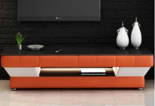 LARDA  (TS1008) TV STAND - 420(H) x 1950(W)- FULL PVC + 2 TEMPERED GLASS + LIGHT
