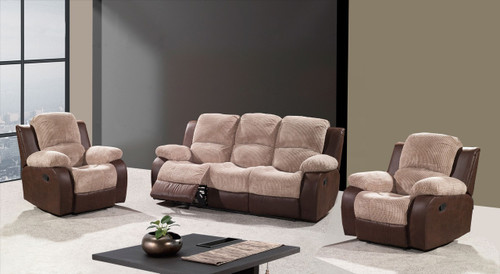 CAMBRIDGE (MODEL- D8180R) 3RR + 1R + 1R - 2-TONE LEATHER/CORD FABRIC RECLINER SUITE - MOCHA LEATHER / WRANGLER BROWN FABRIC