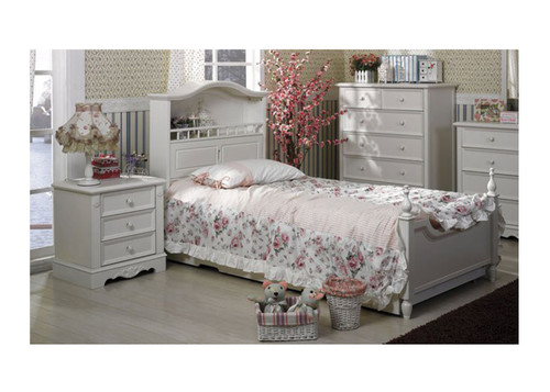 SINGLE MILA (LS-013) BOOKEND BED (MODEL 16-9-1-14-9-19-20) - IVORY WHITE
