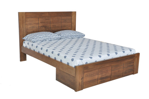 QUEEN CUBA BED WITH UNDERBED STORAGE DRAWERS   DRIFTWOOD EARTH