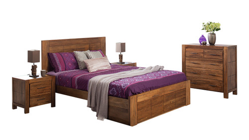 CUBA DOUBLE OR QUEEN 3 PIECE BEDSIDE BEDROOM SUITE WITH UNDERBED STORAGE DRAWERS - DRIFTWOOD EARTH