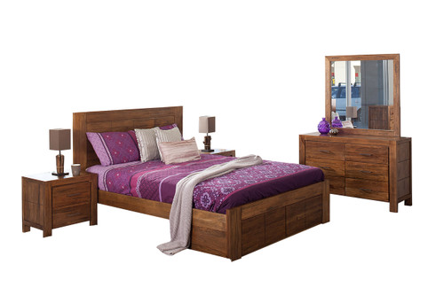 CUBA KING 5 PIECE DRESSING TABLE BEDROOM SUITE WITH UNDERBED STORAGE DRAWERS - DRIFTWOOD EARTH