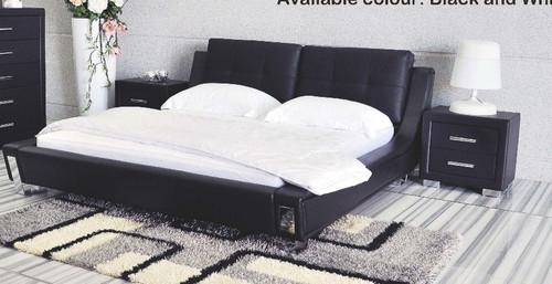 QUEEN TOORAK 3 PIECE BEDSIDE BEDROOM SUITE (MODEL-WD- 05)  - LEATHER/ETTE COMBINATION  - BLACK OR WHITE