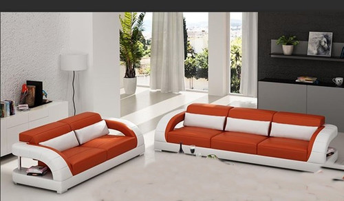 DANLILY (G8016D) 3 SEATER + 2 SEATER TOP BONDED LEATHER/LEATHERETE LOUNGE - CHOICE OF LEATHER & ASSORTED COLOURS