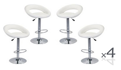 CONIX ( BARS-14WH)   4  x  PIECE OF CIRCULAR  KITCHEN BAR STOOLS - SEAT: 820 - 1040(H) - WHITE