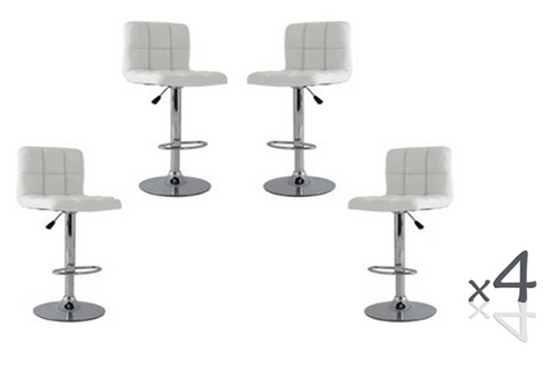 LANCER (BARS-37WH)   4  x  PIECE OF FULL GRID  KITCHEN BAR STOOLS - SEAT: 950 - 1160(H) - WHITE