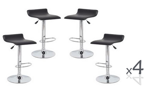 DIAZZY (BARS-51BK)   4  x  PVC CONTEMPORARY S-CURVE KITCHEN BAR STOOLS - SEAT: 660 - 870(H) - BLACK