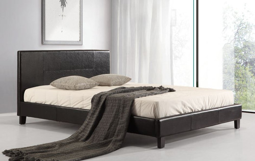 DOUBLE (ING-DBFB-BLACK) LEATHERETTE  BED FRAME  - BLACK