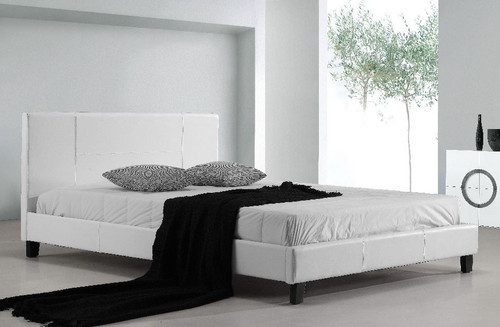 QUEEN (ING-QBFB-White) LEATHERETTE  BED FRAME  - WHITE