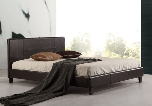 QUEEN (ING-QBFB-Brown) LEATHERETTE  BED FRAME  - BROWN