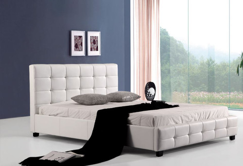 DOUBLE PALERMOR LEATHERETTE DELUXE BED (ING-DBGC-W) - WHITE
