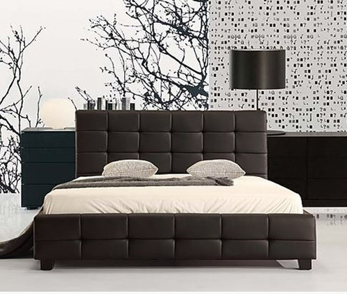 DOUBLE PALERMO LEATHERETTE  TUFTED  BED -  BLACK