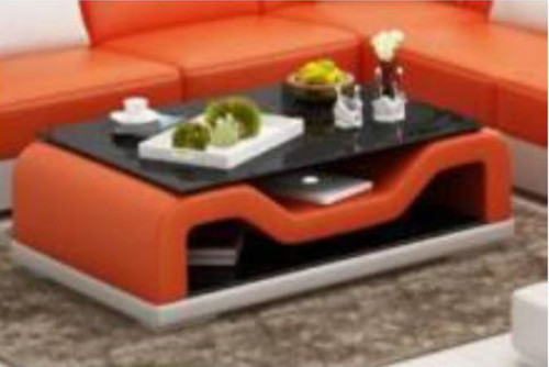 JAMB COFFEE TABLE (MODEL-CT9004)   - FULL LEATHERETTE + 2 TEMPERED GLASS - 1200(W) X 700(D) -  ASSORTED COLOURS