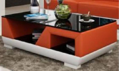 OPA COFFEE TABLE (MODEL-CT9007)  -  FULL LEATHERETTE + 3 x TEMPERED GLASS -   1200(W) X 700(D)  - ASSORTED COLOURS