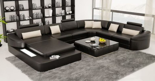 SIHON BONDED LEATHER CHAISE LOUNGE SUITE ( MODEL- G1115) - CHOICE OF LEATHER AND ASSORTED COLOURS AVAILABLE