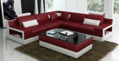 AMARA BONDED LEATHER CORNER  LOUNGE SUITE ( MODEL-G1108B) - CHOICE OF LEATHER AND ASSORTED COLOURS AVAILABLE