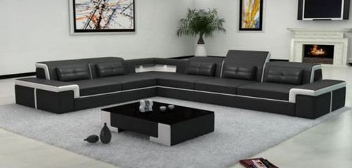 NAMBADA 6 SEATER BONDED LEATHER CHAISE LOUNGE SUITE ( MODEL- G1098) - CHOICE OF LEATHER AND ASSORTED COLOURS AVAILABLE