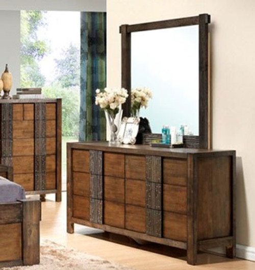 MELROSE DRESSING TABLE WITH MIRROR (IM-1488) - (MODEL 9-18-15-14-2-1-18-11) - 1870(H) X 1589(W) - CHOCOLATE (DARKER THAN PICTURED)