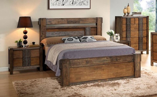 MELROSE KING 4 PIECE TALLBOY BEDROOM SUITE (IM-1488) - (MODEL 9-18-15-14-2-1-18-11) - CHOCOLATE (DARKER THAN PICTURED)