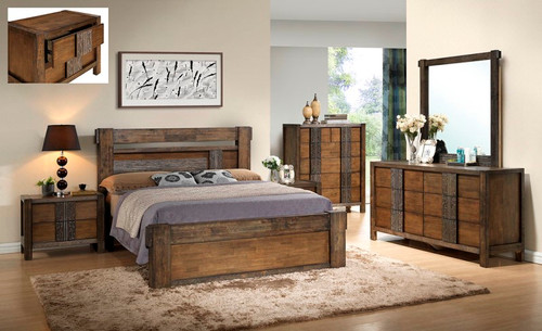 MELROSE KING 5 PIECE (DRESSER) BEDROOM SUITE (IM-1488) (MODEL 9-18-15-14-2-1-18-11) - CHOCOLATE (DARKER THAN PICTURED)