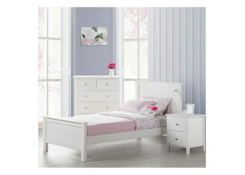 SINGLE EMPRESS HARDWOOD / CUSTOM-WOOD BED (2-18-15-4-9-5) - WHITE