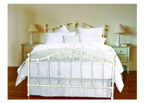 KING CLAREMONT WROUGHT IRON BED - ANTIQUE WHITE