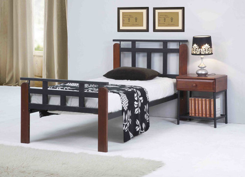 DOUBLE JACOB TIMBER & METAL BED - ANTIQUE OAK / BLACK