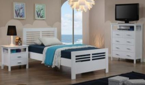 KING SINGLE 3 PIECE BEDROOM SUITE  - WHITE
