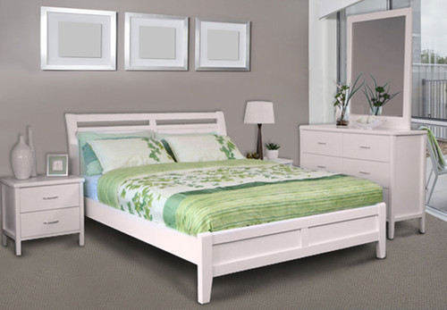 SAVANNAH DB-SHO/QB-SHO (MODEL 19-15-8-15) DOUBLE OR QUEEN 3 PIECE BEDSIDE BEDROOM SUITE WITH DALBY CASE GOODS - WHITE