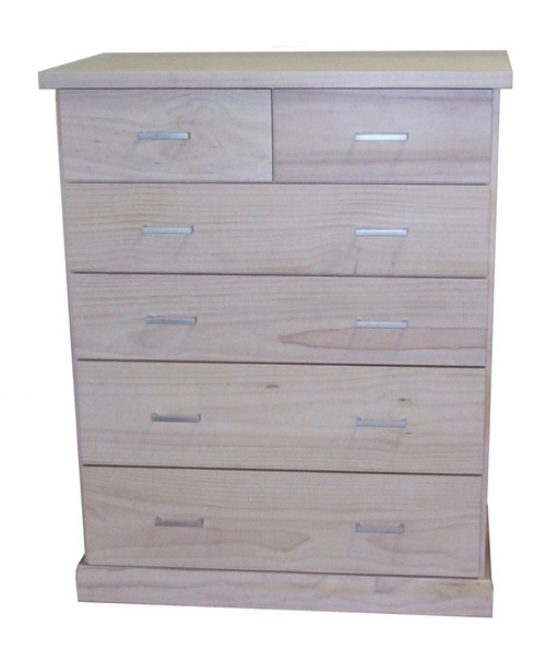 BAYSIDE 6 DRAWER (CBY306) TALLBOY 1180(H) x 950(W) x 440(D) - ASSORTED TIMBER COLOURS AVAILABLE