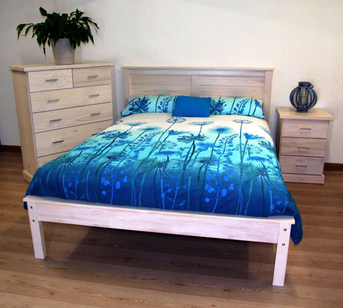 BAYSIDE DOUBLE OR QUEEN 4 PIECE TALLBOY BEDROOM SUITE - ASSORTED TIMBER COLOURS AVAILABLE