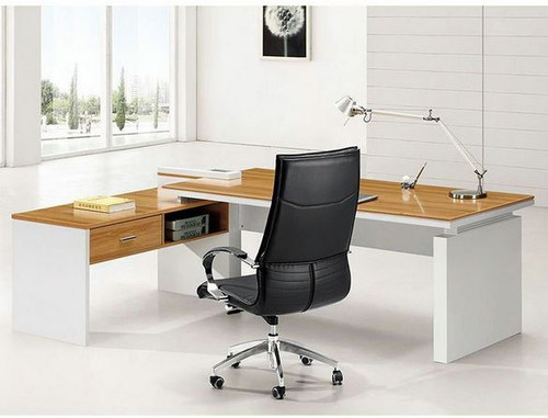 SAMANTHA  MODERN EXECUTIVE OFFICE CORNER DESK (AUSSIE MADE) - 2400(W) X 1710(D) - (MODEL - M218) WITH DRAWER  & SHELVING - ASSORTED COLOURS
