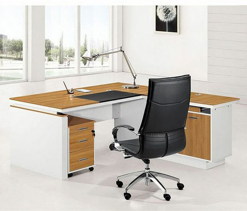ANDY MODERN EXECUTIVE OFFICE CORNER DESK -  1800(W) X  800(D)- (MODEL-M217) WITH 3 DRAWERS &  CUPBOARD