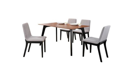 DELUXE 7 PIECE DINING  SET (MODEL- IV3091-IV1105) (KIT#077) - 1500(L) x 900(W) - WALNUT VENEER / GREY