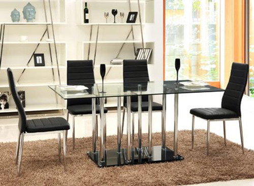 GRANDEBA  7 PIECE DINING  SET (MODEL- UDT368+UDC140) COMBINATION OF GLASS TABLE  & MATCHING LEATHERETTE CHAIRS (KIT#057) - 1500(L) x 900(W)